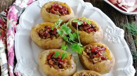 Batatas Recheadas com Cogumelos, Bacon e Requeijão