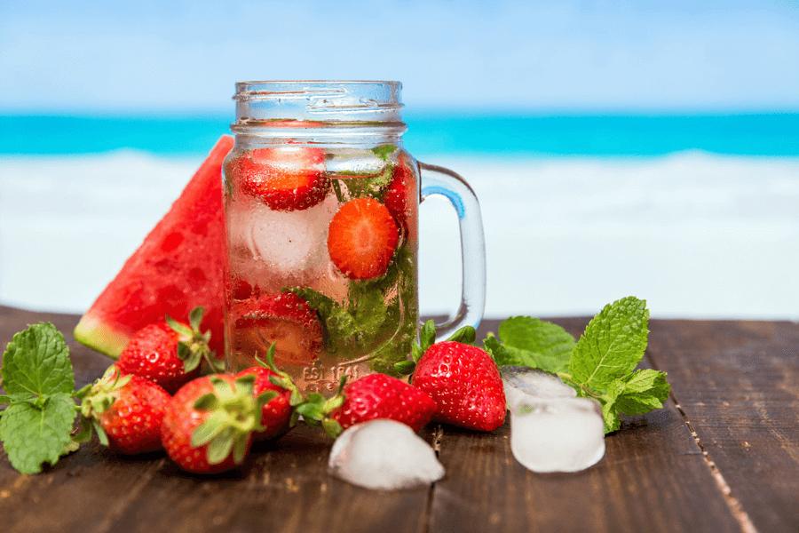 agua aromatizada frutos vermelhos