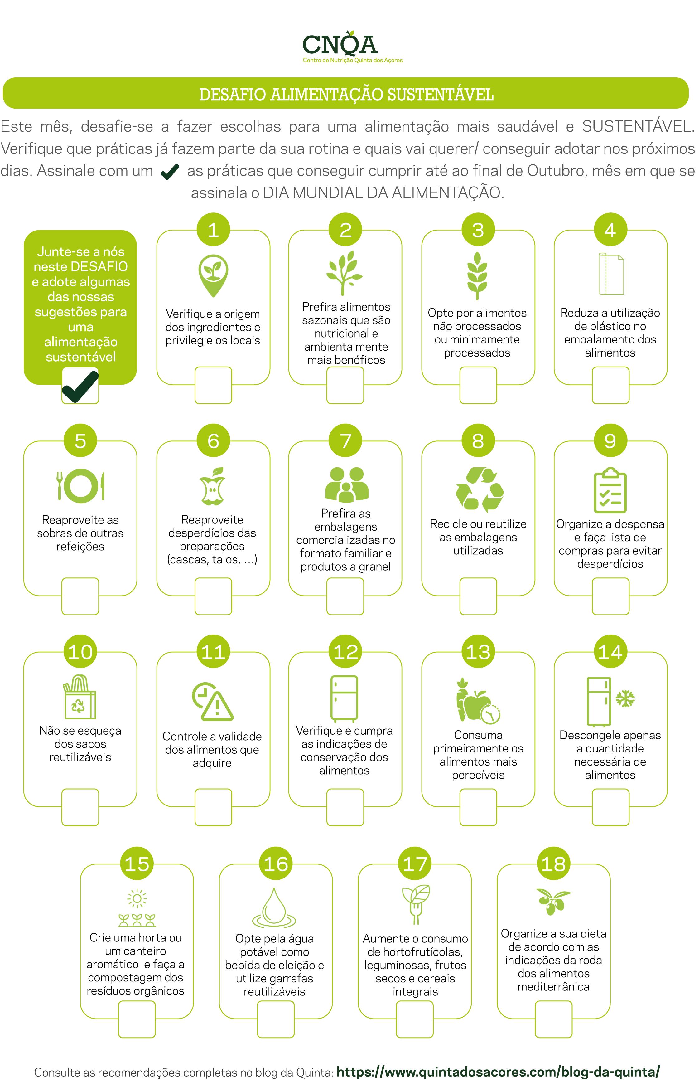 lista de recomendações para uma alimentação mais sustentável