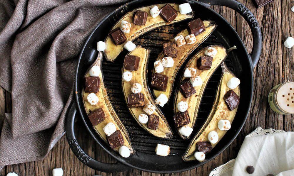 Receita Banana Grelhada com Chocolate Negro, Marshmallows e Canela